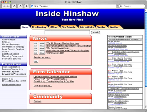 Hinshaw & Culbertson LLP Intranet Home Page