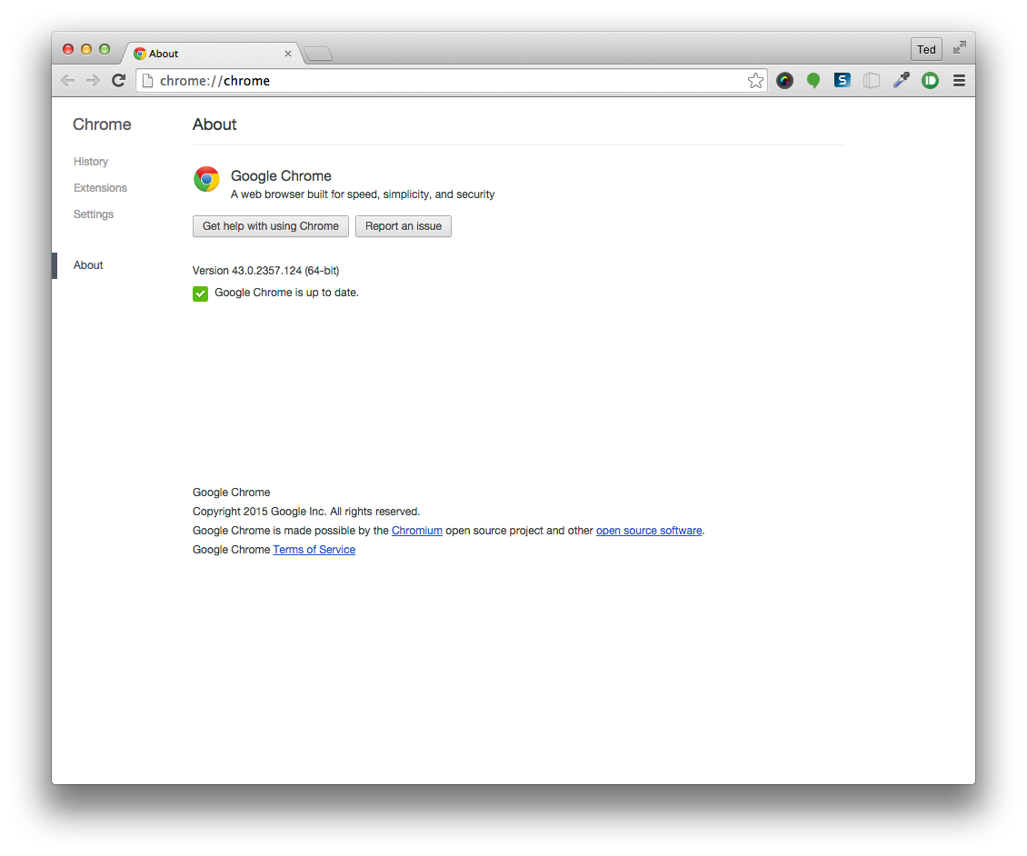 Chrome Mac About