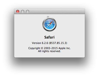 Safari Mac About